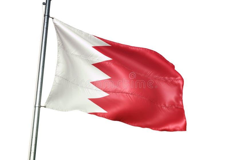 Ondulation de drapeau national du Bahrain d'isolement sur l'illustration 3d réaliste de fond blanc illustration de vecteur