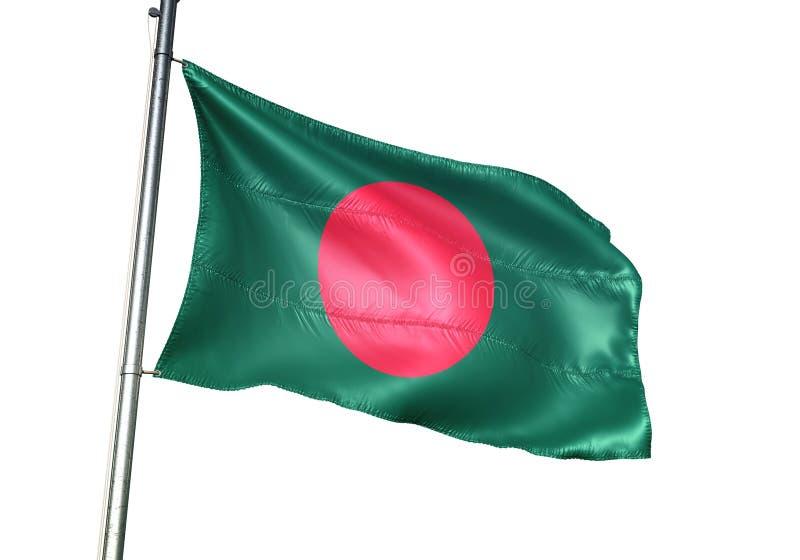 Ondulation de drapeau national du Bangladesh d'isolement sur l'illustration 3d réaliste de fond blanc illustration de vecteur