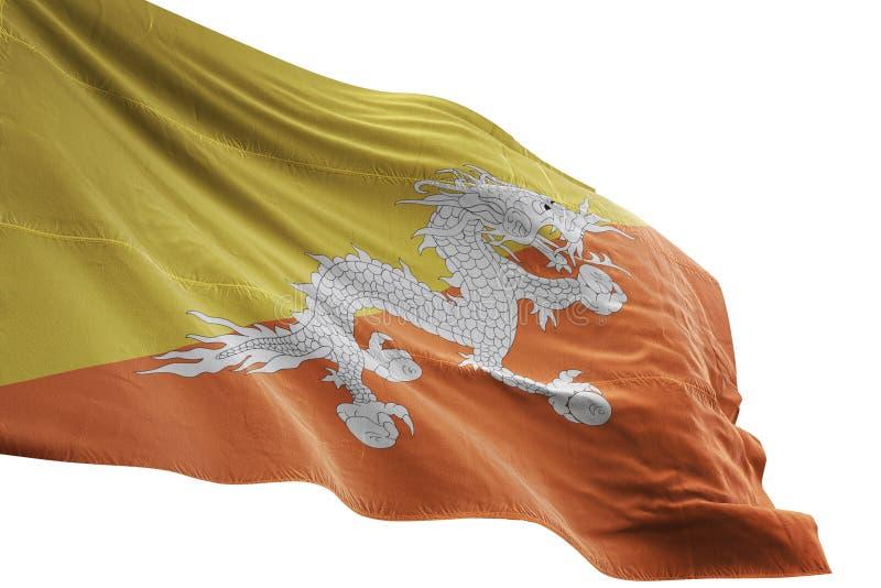 Ondulation de drapeau national du Bhutan d'isolement sur l'illustration blanche du fond 3d illustration de vecteur