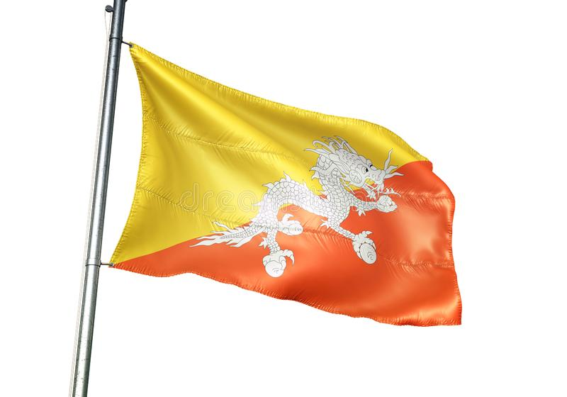 Ondulation de drapeau national du Bhutan d'isolement sur l'illustration 3d réaliste de fond blanc illustration de vecteur