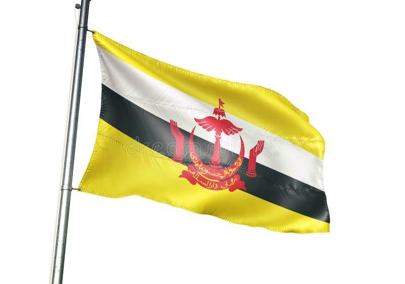 Ondulation de drapeau national du Brunei d'isolement sur l'illustration 3d réaliste de fond blanc illustration de vecteur