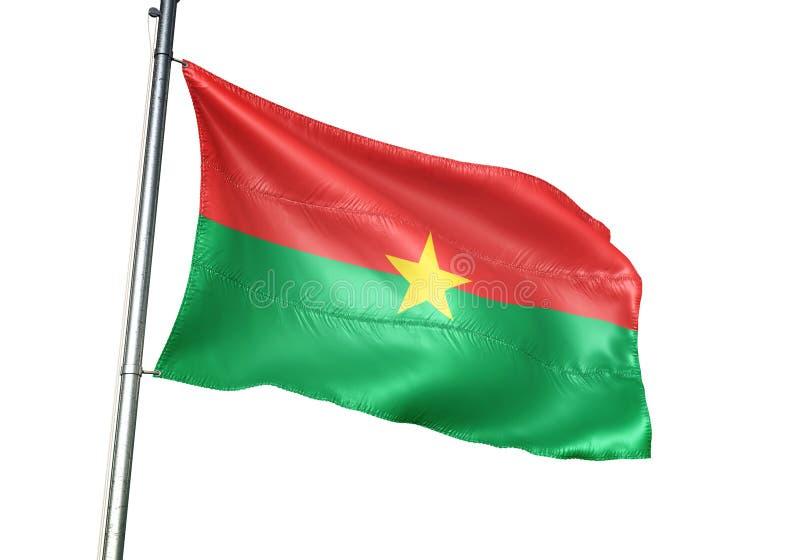 Ondulation de drapeau national du Burkina Faso d'isolement sur l'illustration 3d réaliste de fond blanc illustration stock