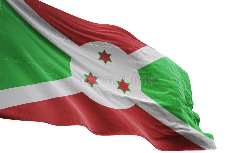 Ondulation de drapeau national du Burundi d'isolement sur l'illustration blanche du fond 3d illustration stock