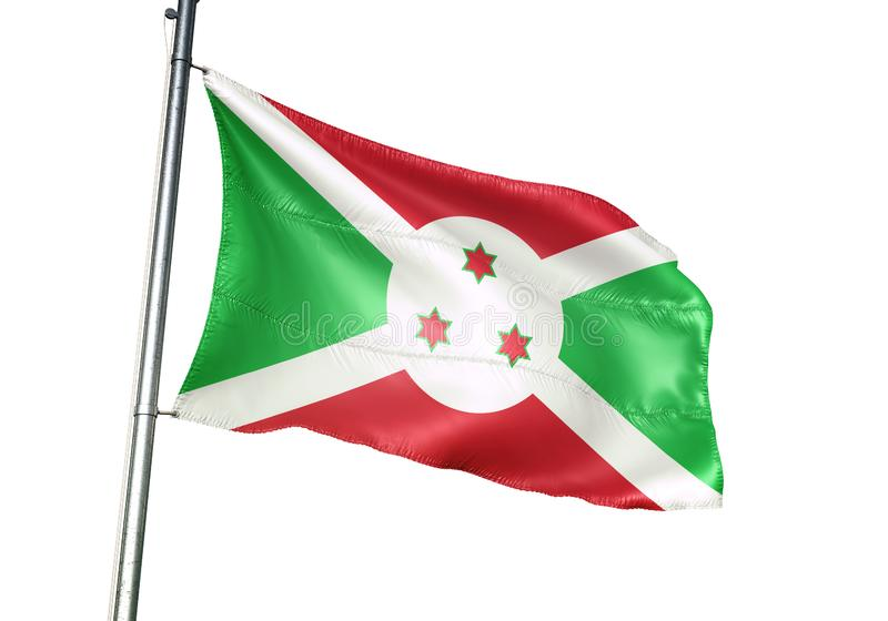 Ondulation de drapeau national du Burundi d'isolement sur l'illustration 3d réaliste de fond blanc illustration libre de droits