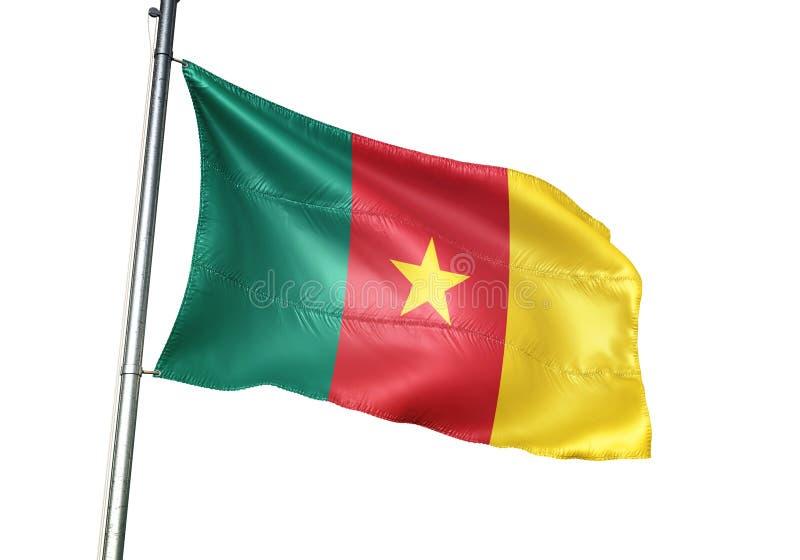 Ondulation de drapeau national du Cameroun d'isolement sur l'illustration 3d réaliste de fond blanc illustration de vecteur