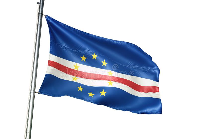 Ondulation de drapeau national du Cap Vert d'isolement sur l'illustration 3d réaliste de fond blanc illustration de vecteur