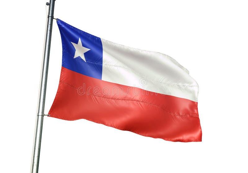 Ondulation de drapeau national du Chili d'isolement sur l'illustration 3d réaliste de fond blanc illustration stock