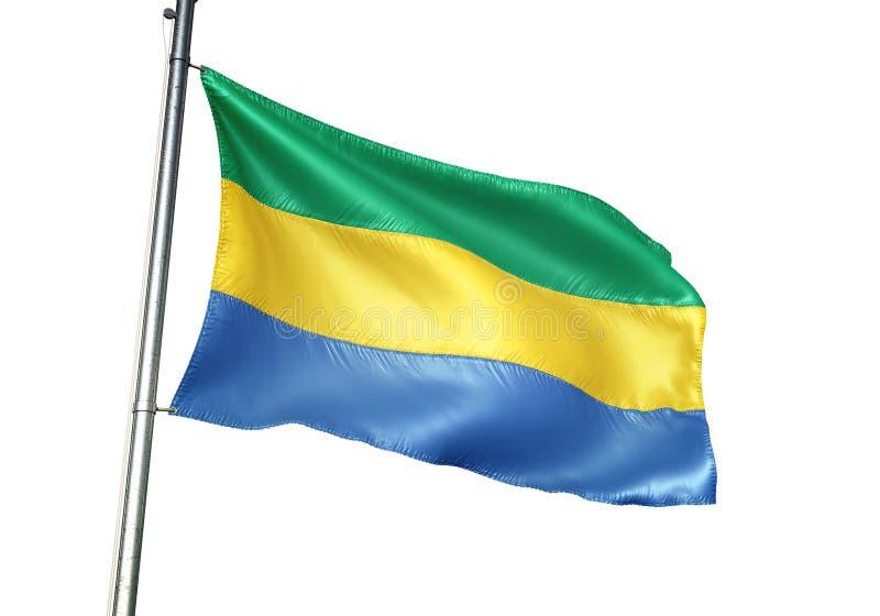 Ondulation de drapeau national du Gabon d'isolement sur l'illustration 3d réaliste de fond blanc illustration libre de droits