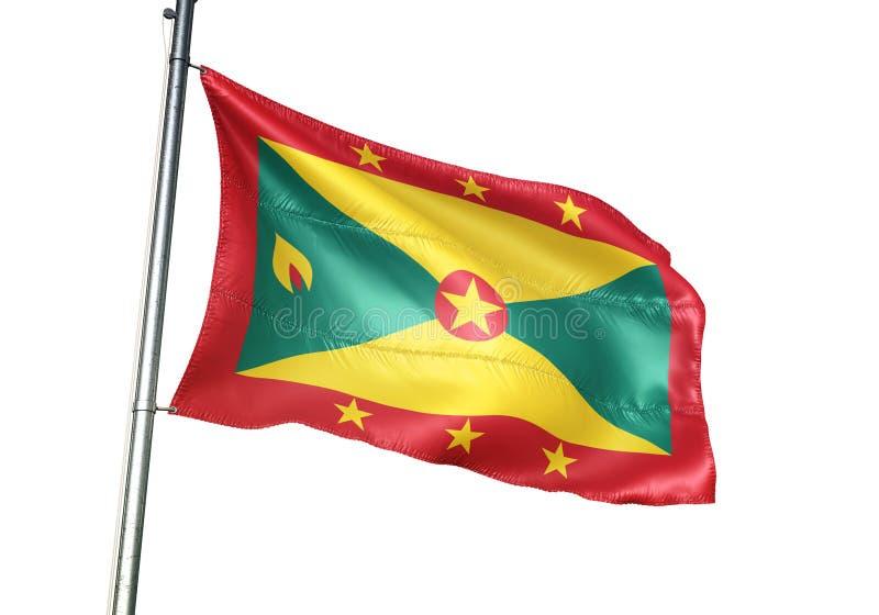 Ondulation de drapeau national du Grenada d'isolement sur l'illustration 3d réaliste de fond blanc illustration libre de droits