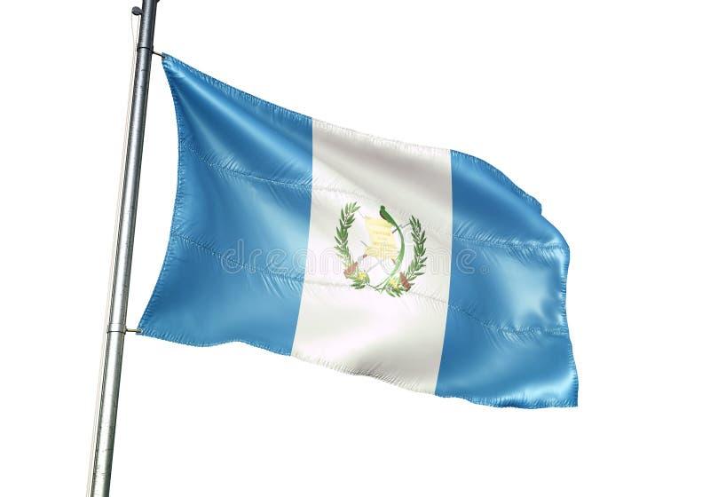 Ondulation de drapeau national du Guatemala d'isolement sur l'illustration 3d réaliste de fond blanc illustration libre de droits