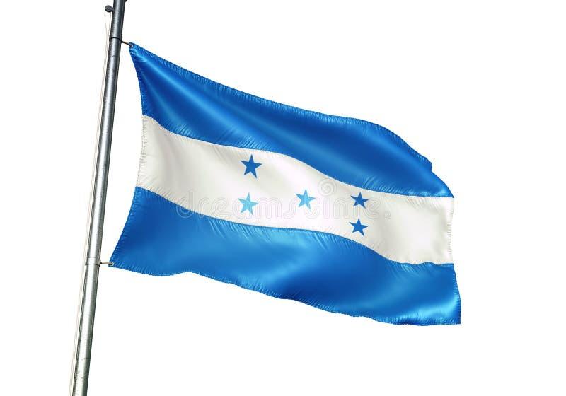Ondulation de drapeau national du Honduras d'isolement sur l'illustration 3d réaliste de fond blanc illustration libre de droits