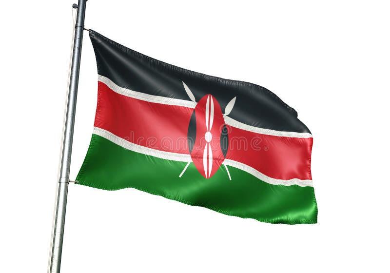Ondulation de drapeau national du Kenya d'isolement sur l'illustration 3d réaliste de fond blanc illustration libre de droits