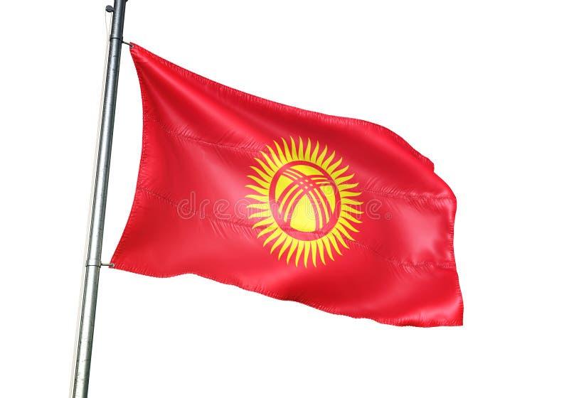 Ondulation de drapeau national du Kirghizistan d'isolement sur l'illustration 3d réaliste de fond blanc illustration de vecteur