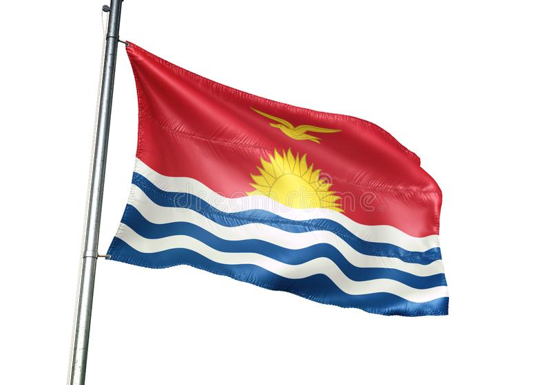 Ondulation de drapeau national du Kiribati d'isolement sur l'illustration 3d réaliste de fond blanc illustration de vecteur