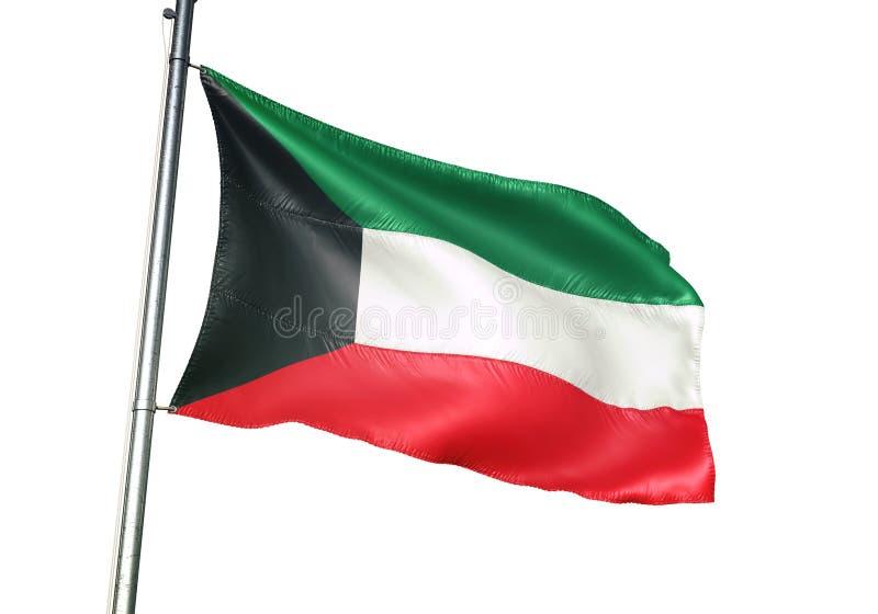 Ondulation de drapeau national du Kowéit d'isolement sur l'illustration 3d réaliste de fond blanc illustration libre de droits