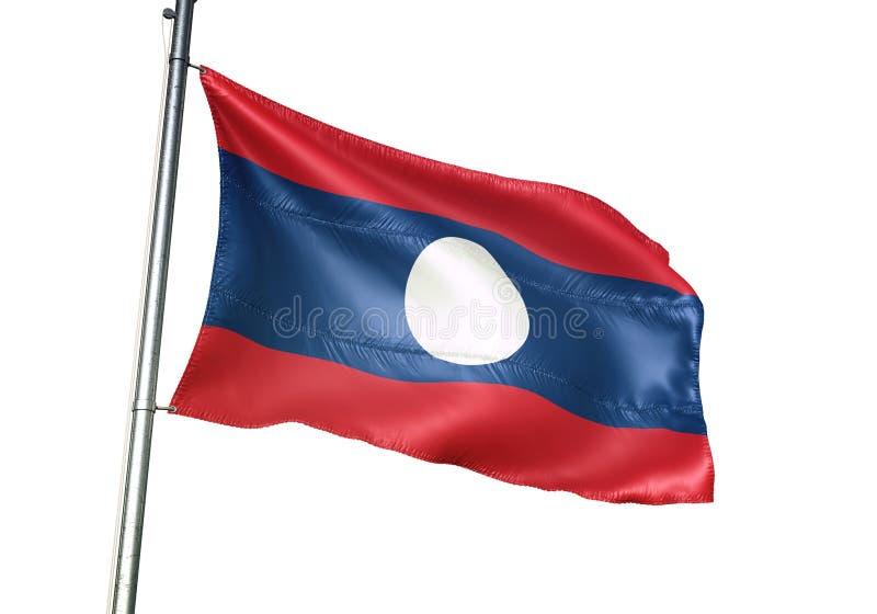 Ondulation de drapeau national du Laos d'isolement sur l'illustration 3d réaliste de fond blanc illustration stock