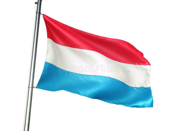 Ondulation de drapeau national du luxembourgeois d'isolement sur l'illustration 3d réaliste de fond blanc illustration de vecteur