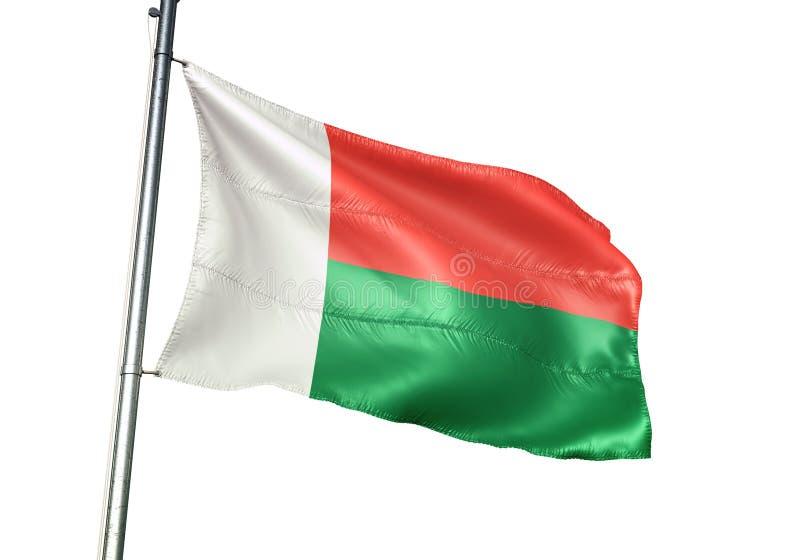 Ondulation de drapeau national du Madagascar d'isolement sur l'illustration 3d réaliste de fond blanc illustration libre de droits