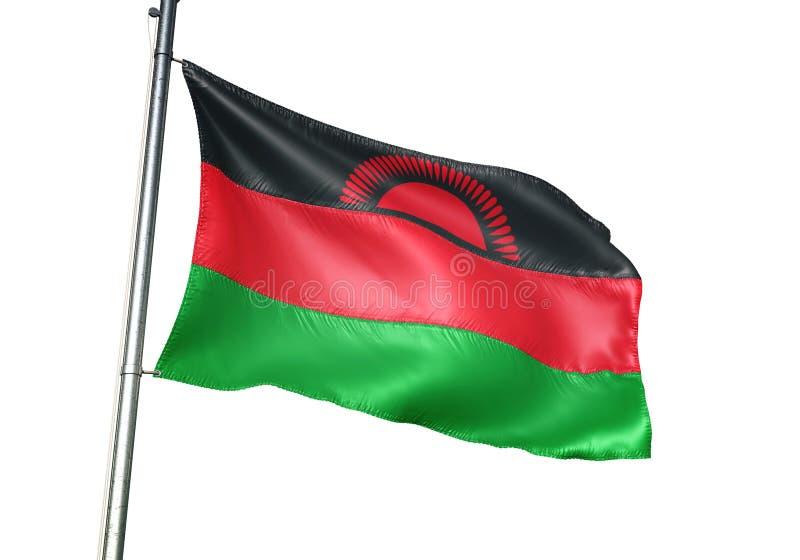 Ondulation de drapeau national du Malawi d'isolement sur l'illustration 3d réaliste de fond blanc illustration libre de droits