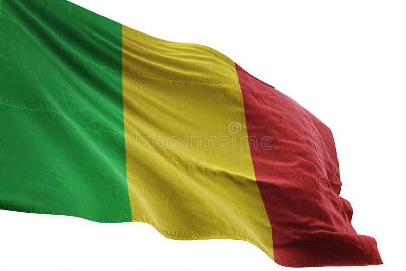 Ondulation de drapeau national du Mali d'isolement sur l'illustration blanche du fond 3d illustration libre de droits