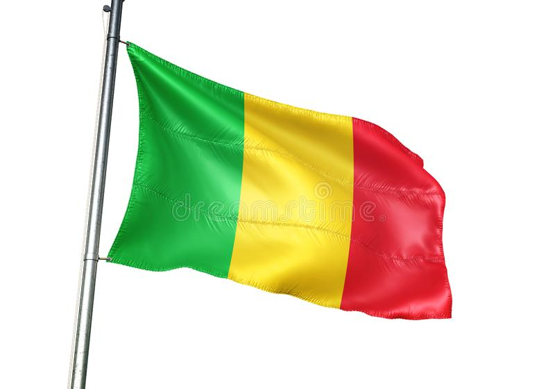 Ondulation de drapeau national du Mali d'isolement sur l'illustration 3d réaliste de fond blanc illustration stock
