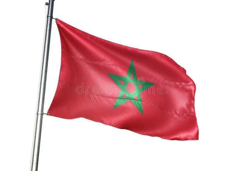 Ondulation de drapeau national du Maroc d'isolement sur l'illustration 3d réaliste de fond blanc illustration libre de droits