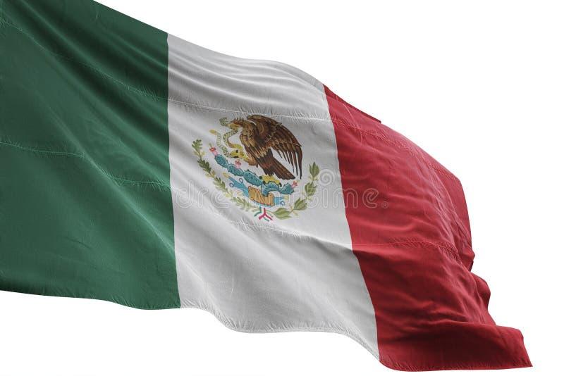 Ondulation de drapeau national du Mexique d'isolement sur l'illustration blanche du fond 3d illustration libre de droits