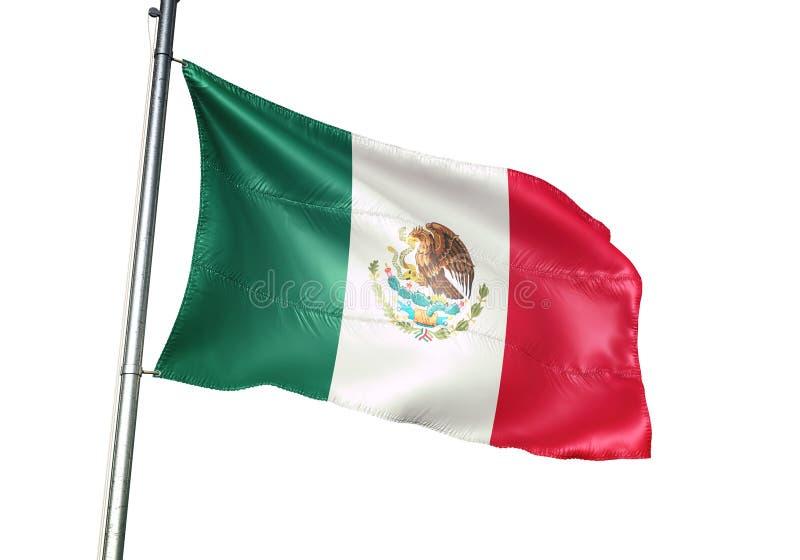 Ondulation de drapeau national du Mexique d'isolement sur l'illustration 3d réaliste de fond blanc illustration libre de droits