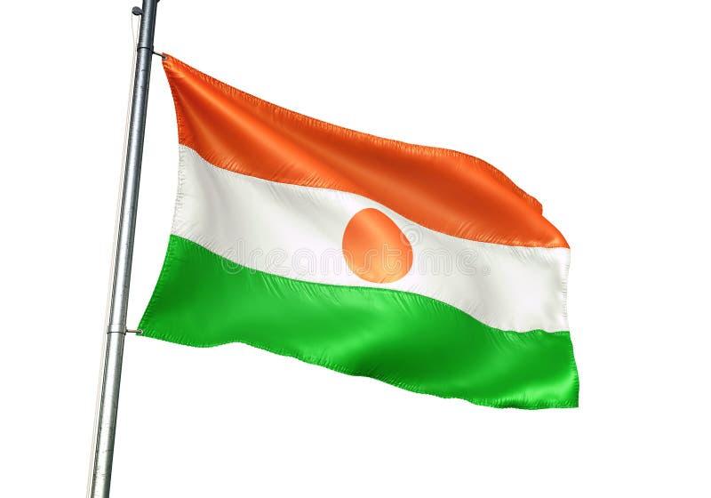 Ondulation de drapeau national du Niger d'isolement sur l'illustration 3d réaliste de fond blanc illustration stock