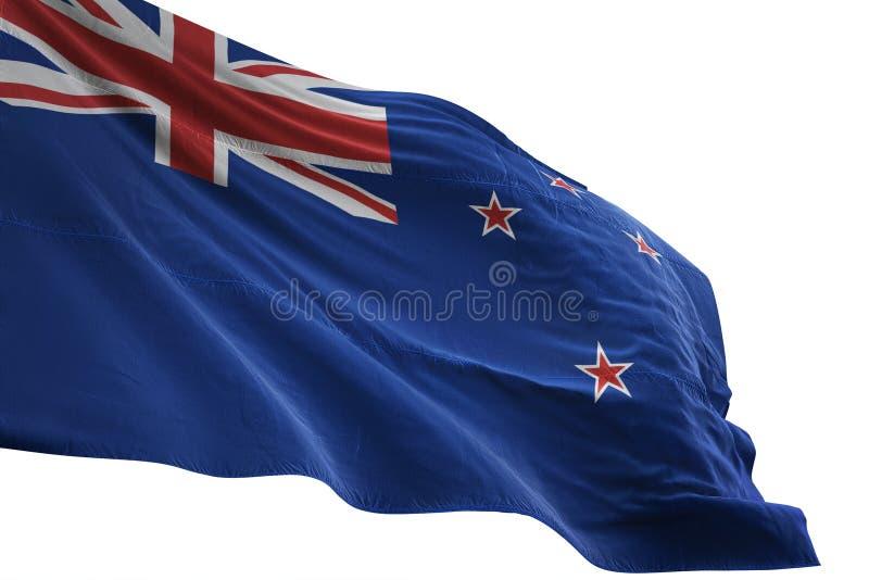 Ondulation de drapeau national du Nouvelle-Zélande d'isolement sur l'illustration blanche du fond 3d illustration stock