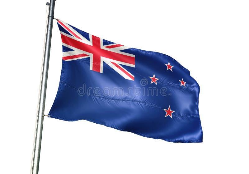 Ondulation de drapeau national du Nouvelle-Zélande d'isolement sur l'illustration 3d réaliste de fond blanc illustration libre de droits