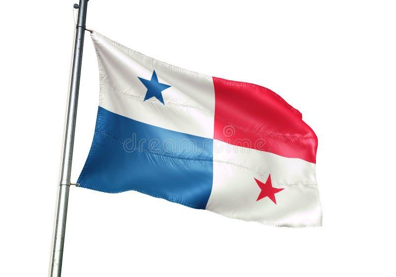 Ondulation de drapeau national du Panama d'isolement sur l'illustration 3d réaliste de fond blanc illustration de vecteur