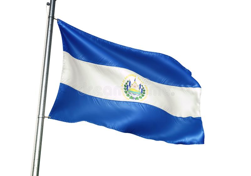 Ondulation de drapeau national du Salvador d'isolement sur l'illustration 3d réaliste de fond blanc illustration de vecteur