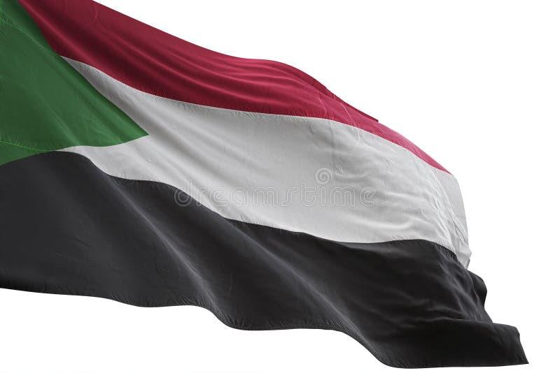 Ondulation de drapeau national du Soudan d'isolement sur l'illustration blanche du fond 3d illustration de vecteur