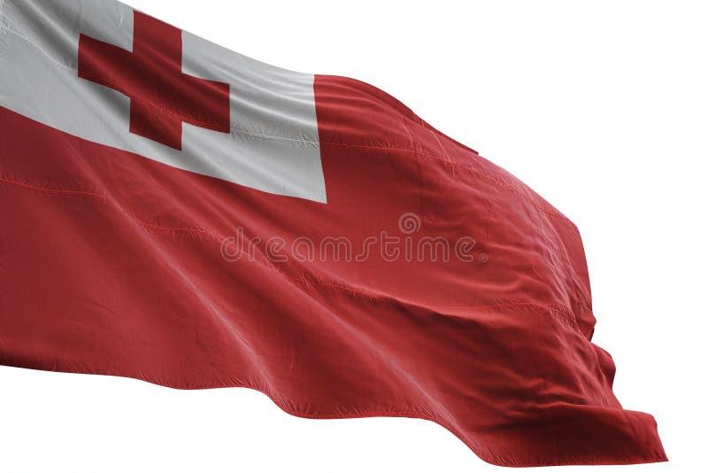 Ondulation de drapeau national du Tonga d'isolement sur l'illustration blanche du fond 3d illustration stock