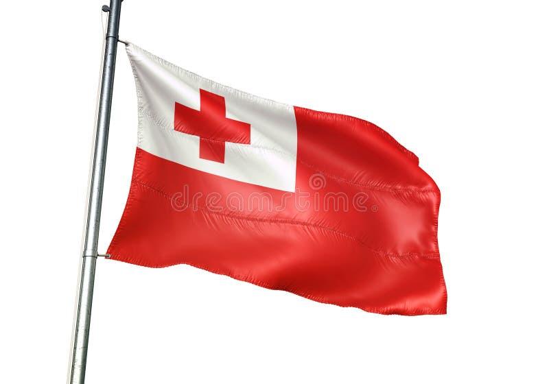 Ondulation de drapeau national du Tonga d'isolement sur l'illustration 3d réaliste de fond blanc illustration stock