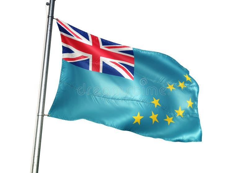 Ondulation de drapeau national du Tuvalu d'isolement sur l'illustration 3d réaliste de fond blanc illustration libre de droits
