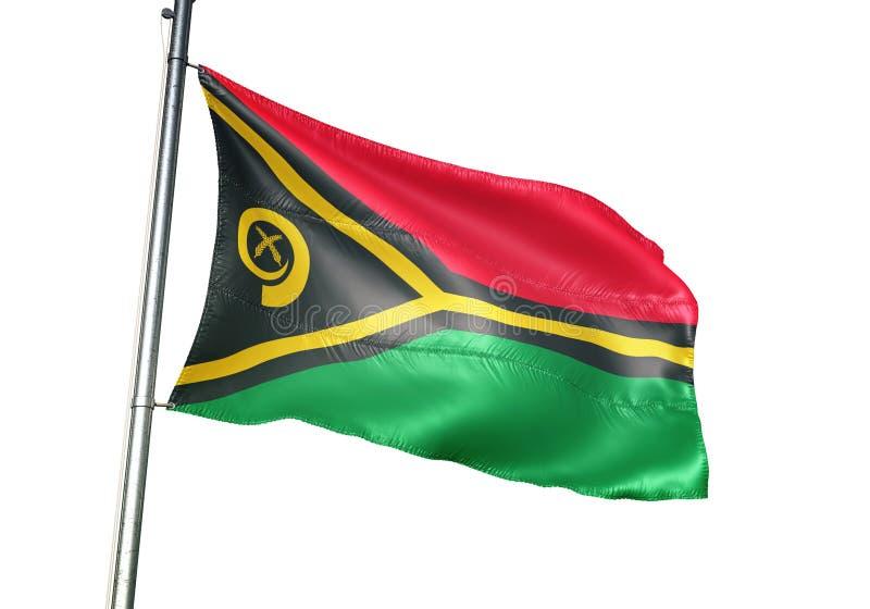Ondulation de drapeau national du Vanuatu d'isolement sur l'illustration 3d réaliste de fond blanc illustration libre de droits