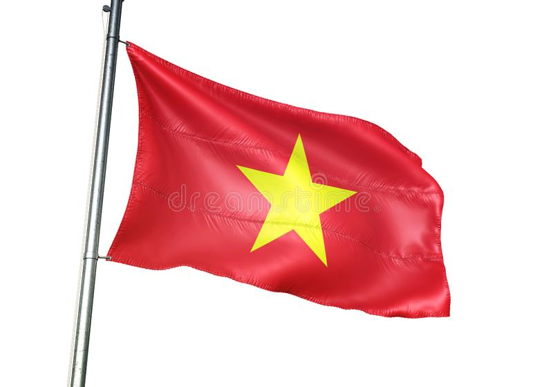 Ondulation de drapeau national du Vietnam d'isolement sur l'illustration 3d réaliste de fond blanc illustration de vecteur