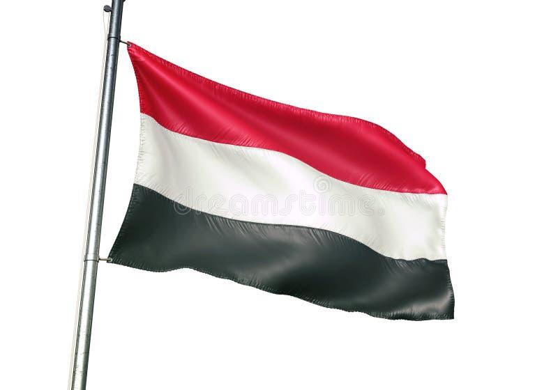 Ondulation de drapeau national du Yémen d'isolement sur l'illustration 3d réaliste de fond blanc illustration libre de droits