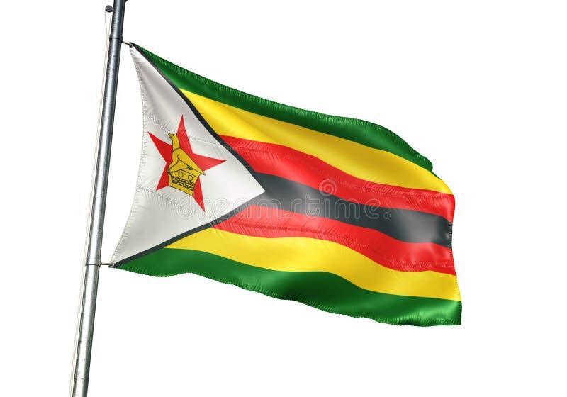 Ondulation de drapeau national du Zimbabwe d'isolement sur l'illustration 3d réaliste de fond blanc illustration libre de droits