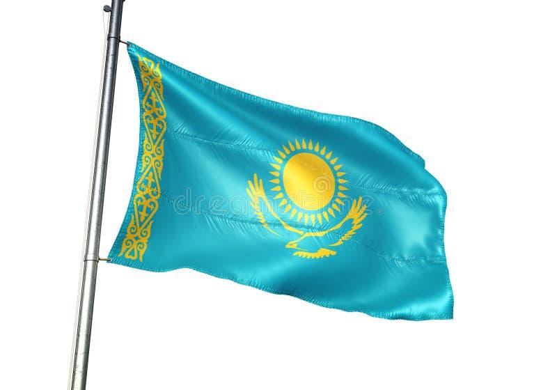 Ondulation de drapeau national de Kazakhstan d'isolement sur l'illustration 3d réaliste de fond blanc illustration libre de droits
