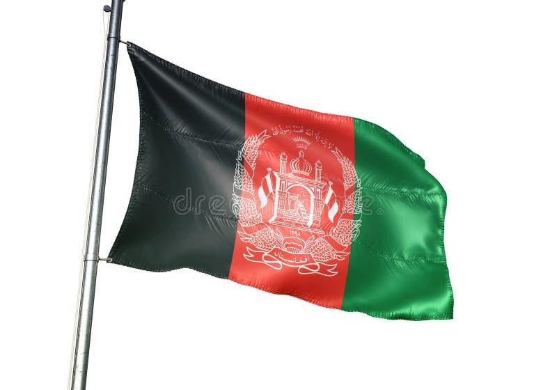 Ondulation de drapeau national de l'Afghanistan d'isolement sur l'illustration 3d réaliste de fond blanc illustration stock