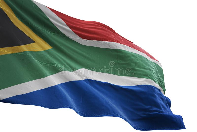 Ondulation de drapeau national de l'Afrique du Sud d'isolement sur l'illustration blanche du fond 3d illustration de vecteur