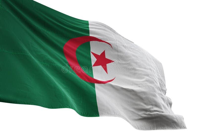 Ondulation de drapeau national de l'Algérie d'isolement sur l'illustration blanche du fond 3d illustration libre de droits