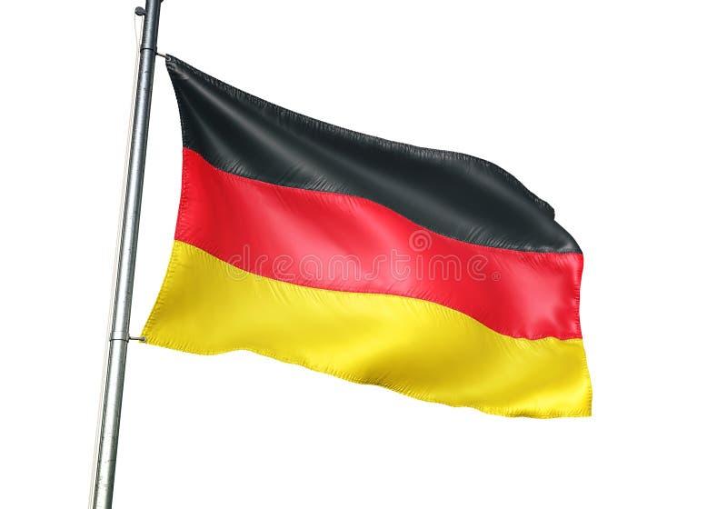 Ondulation de drapeau national de l'Allemagne d'isolement sur l'illustration 3d réaliste de fond blanc illustration de vecteur