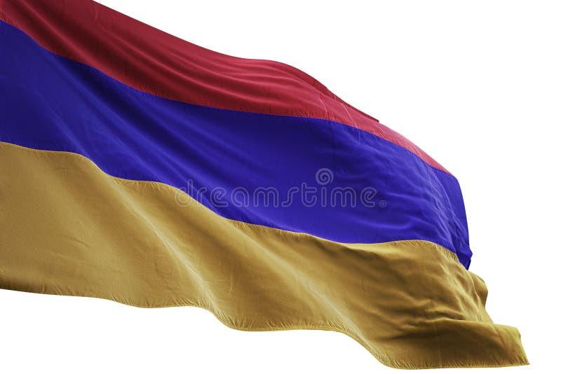 Ondulation de drapeau national de l'Arménie d'isolement sur l'illustration blanche du fond 3d illustration de vecteur