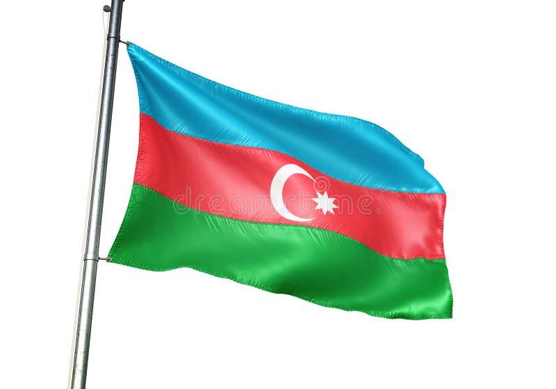 Ondulation de drapeau national de l'Azerbaïdjan d'isolement sur l'illustration 3d réaliste de fond blanc illustration de vecteur
