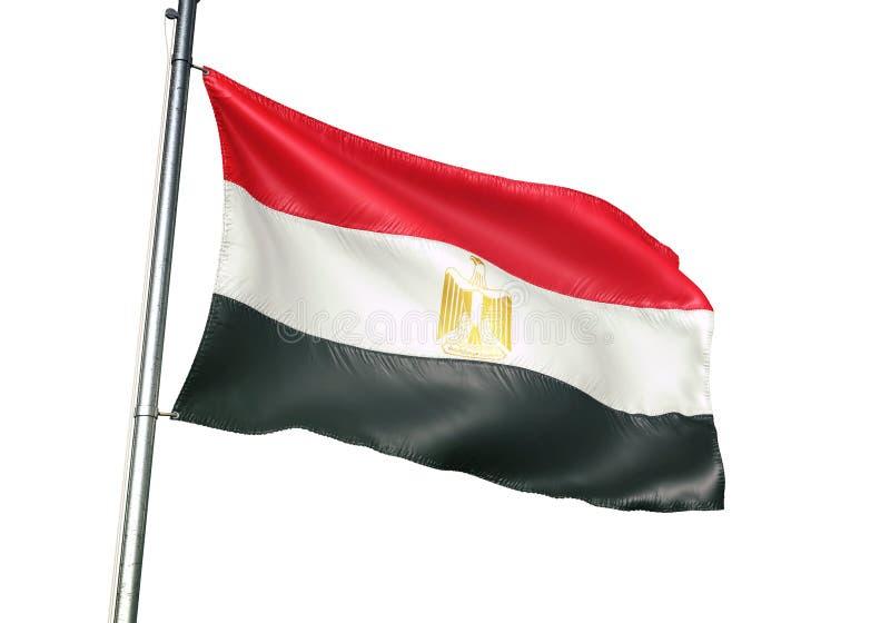 Ondulation de drapeau national de l'Egypte d'isolement sur l'illustration 3d réaliste de fond blanc illustration libre de droits