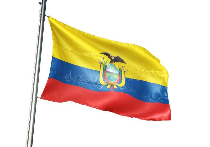 Ondulation de drapeau national de l'Equateur d'isolement sur l'illustration 3d réaliste de fond blanc illustration de vecteur